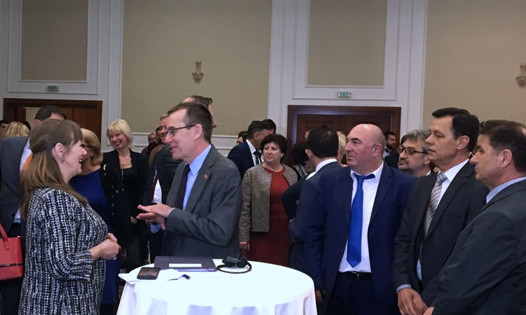 "Ambassador Bailey accompanied by the OSCE Ambassador Suomalainen participated at the closing of the ""Day of Judiciary"" conference hosted by the Macedonian Judges Association."