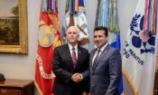 United States Vice President Mike Pence met with Macedonian Prime Minister Zaev to congratulate him on the historic Prespa Agreement, September 20, 2018